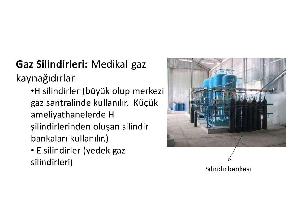 Silindir bankası Gaz Silindirleri: Medikal gaz kaynağıdırlar. • H silindirler (büyük olup merkezi gaz santralinde kullanılır. Küçük ameliyathanelerde
