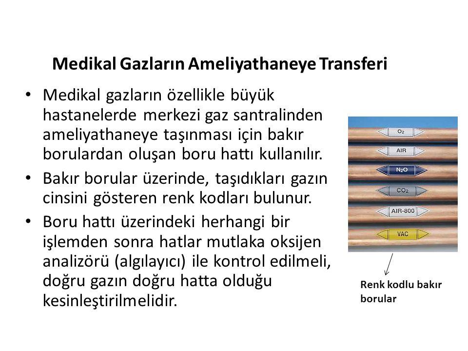 Medikal Gazların Ameliyathaneye Transferi • Medikal gazların özellikle büyük hastanelerde merkezi gaz santralinden ameliyathaneye taşınması için bakır
