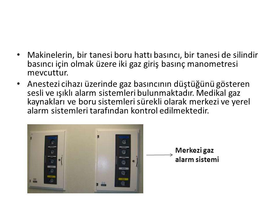 • Makinelerin, bir tanesi boru hattı basıncı, bir tanesi de silindir basıncı için olmak üzere iki gaz giriş basınç manometresi mevcuttur. • Anestezi c