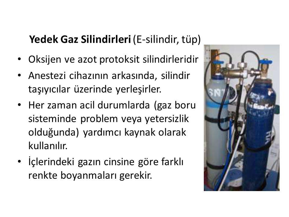 Yedek Gaz Silindirleri (E-silindir, tüp) • Oksijen ve azot protoksit silindirleridir • Anestezi cihazının arkasında, silindir taşıyıcılar üzerinde yer