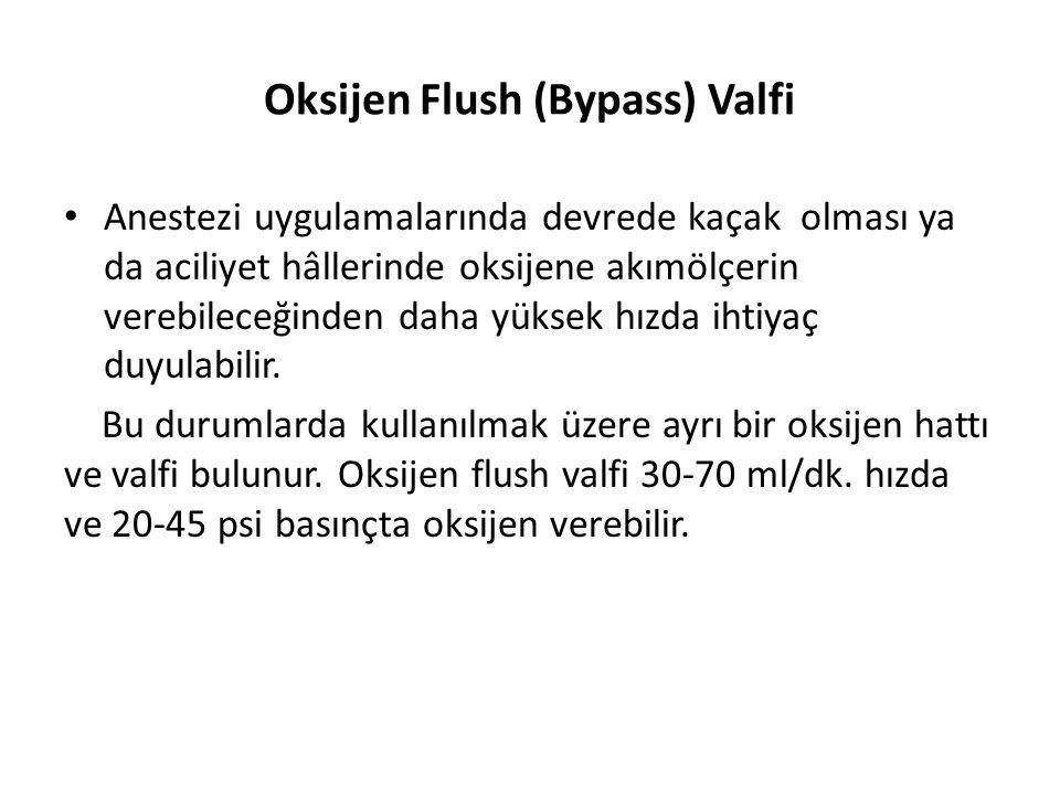 Oksijen Flush (Bypass) Valfi • Anestezi uygulamalarında devrede kaçak olması ya da aciliyet hâllerinde oksijene akımölçerin verebileceğinden daha yüks