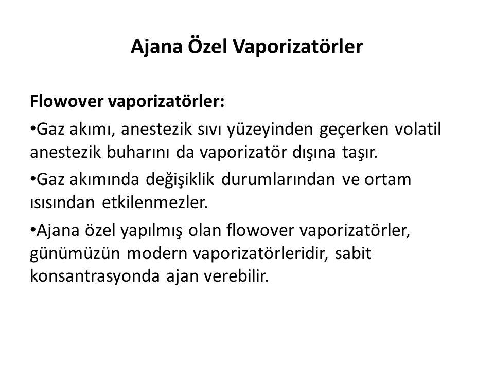 Ajana Özel Vaporizatörler Flowover vaporizatörler: • Gaz akımı, anestezik sıvı yüzeyinden geçerken volatil anestezik buharını da vaporizatör dışına ta