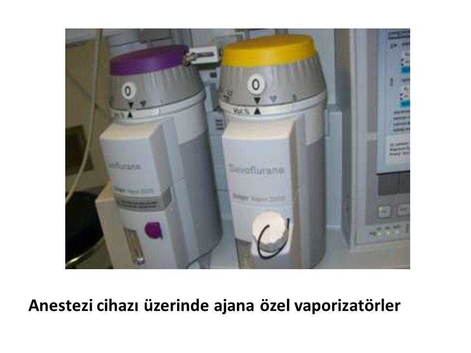 Anestezi cihazı üzerinde ajana özel vaporizatörler