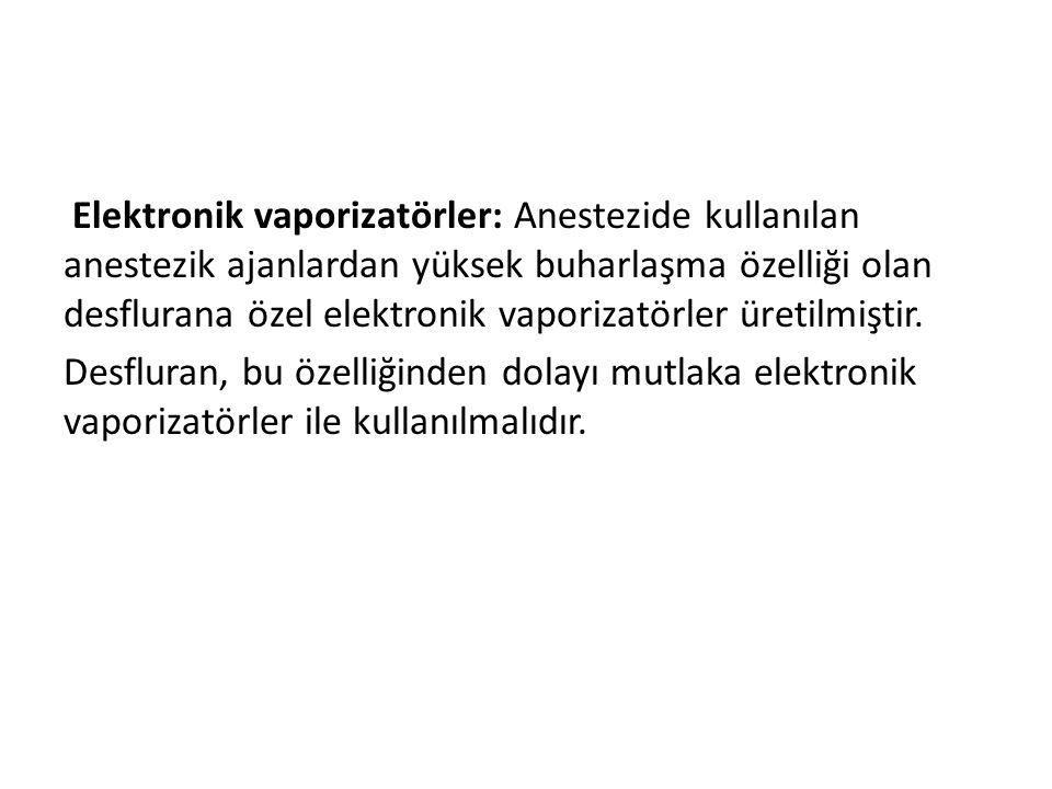 Elektronik vaporizatörler: Anestezide kullanılan anestezik ajanlardan yüksek buharlaşma özelliği olan desflurana özel elektronik vaporizatörler üretil