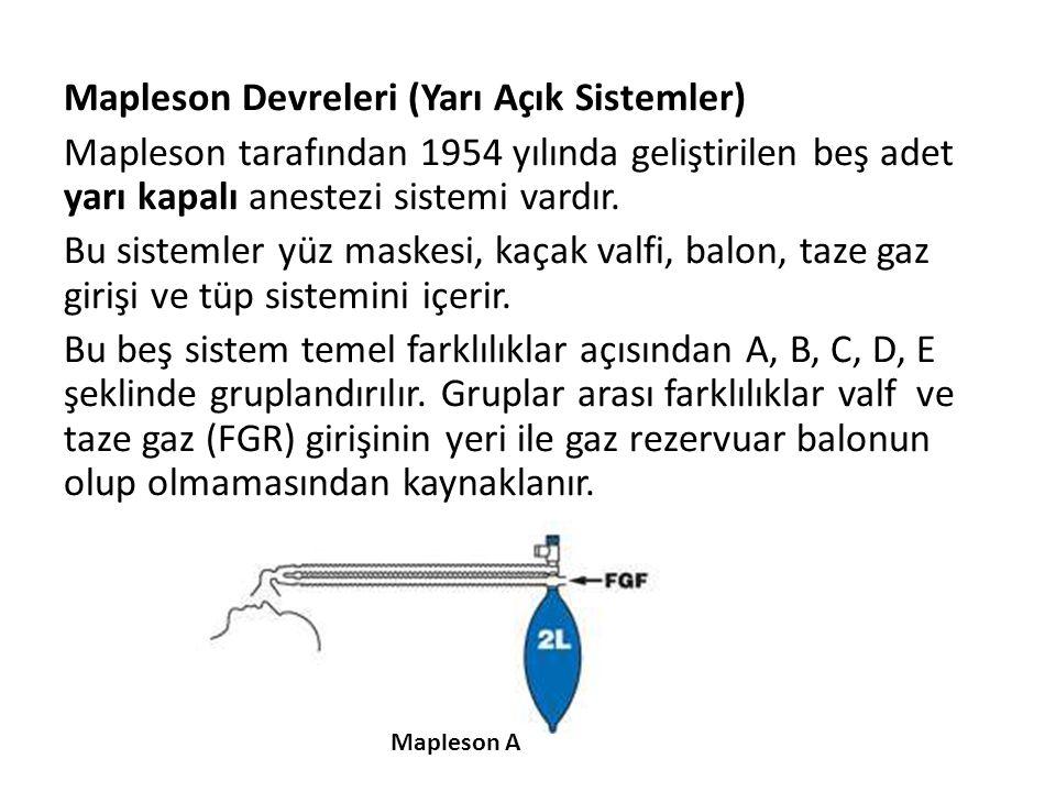 Mapleson Devreleri (Yarı Açık Sistemler) Mapleson tarafından 1954 yılında geliştirilen beş adet yarı kapalı anestezi sistemi vardır. Bu sistemler yüz