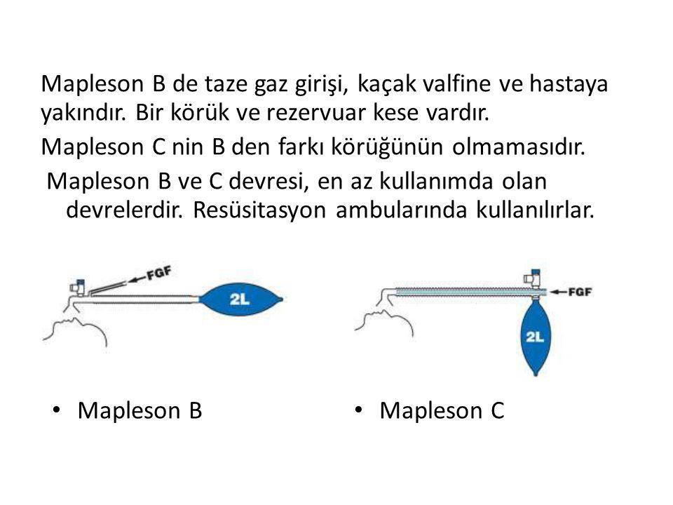 Mapleson B de taze gaz girişi, kaçak valfine ve hastaya yakındır. Bir körük ve rezervuar kese vardır. Mapleson C nin B den farkı körüğünün olmamasıdır