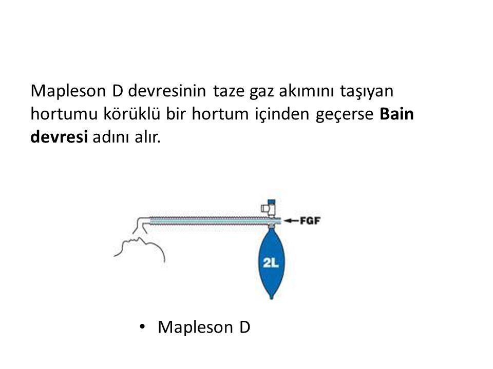 Şekil:1.8 Mapleson D • Mapleson D Mapleson D devresinin taze gaz akımını taşıyan hortumu körüklü bir hortum içinden geçerse Bain devresi adını alır.