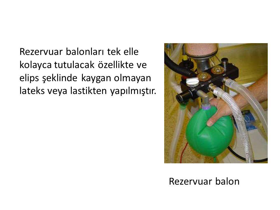Rezervuar balonları tek elle kolayca tutulacak özellikte ve elips şeklinde kaygan olmayan lateks veya lastikten yapılmıştır. Rezervuar balon