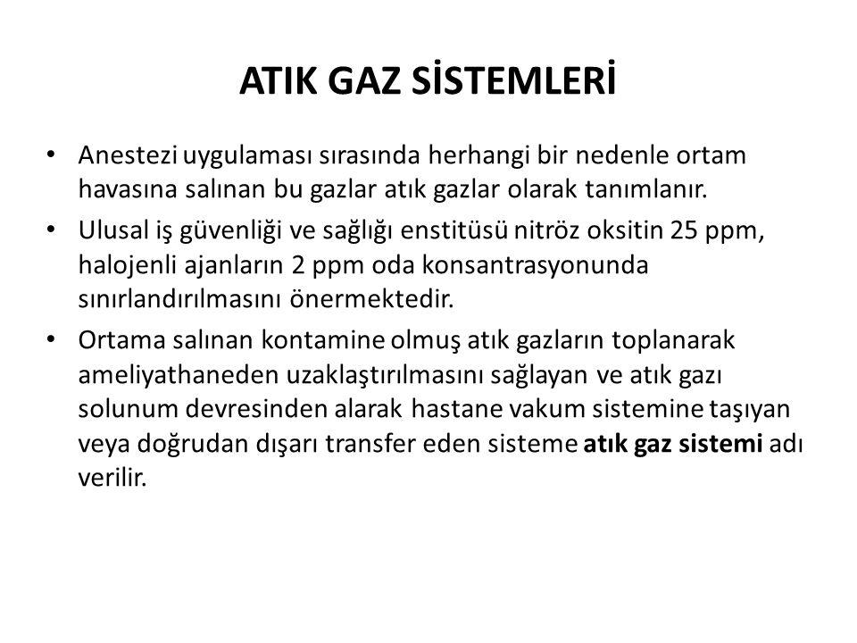 ATIK GAZ SİSTEMLERİ • Anestezi uygulaması sırasında herhangi bir nedenle ortam havasına salınan bu gazlar atık gazlar olarak tanımlanır. • Ulusal iş g