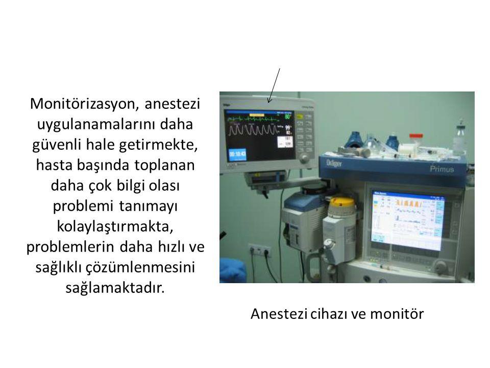 Monitörizasyon, anestezi uygulanamalarını daha güvenli hale getirmekte, hasta başında toplanan daha çok bilgi olası problemi tanımayı kolaylaştırmakta