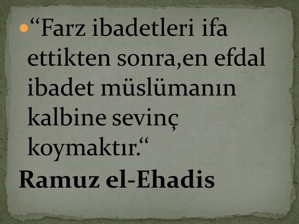  ''Farz ibadetleri ifa ettikten sonra,en efdal ibadet müslümanın kalbine sevinç koymaktır.'' Ramuz el-Ehadis