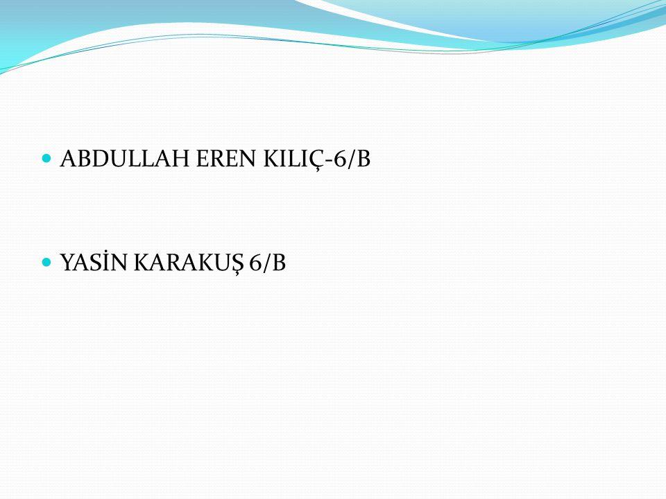  ABDULLAH EREN KILIÇ-6/B  YASİN KARAKUŞ 6/B