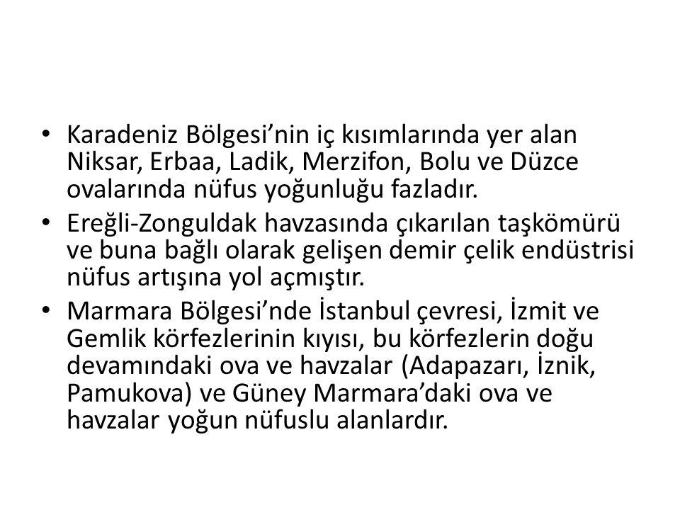 • Karadeniz Bölgesi'nin iç kısımlarında yer alan Niksar, Erbaa, Ladik, Merzifon, Bolu ve Düzce ovalarında nüfus yoğunluğu fazladır. • Ereğli-Zonguldak