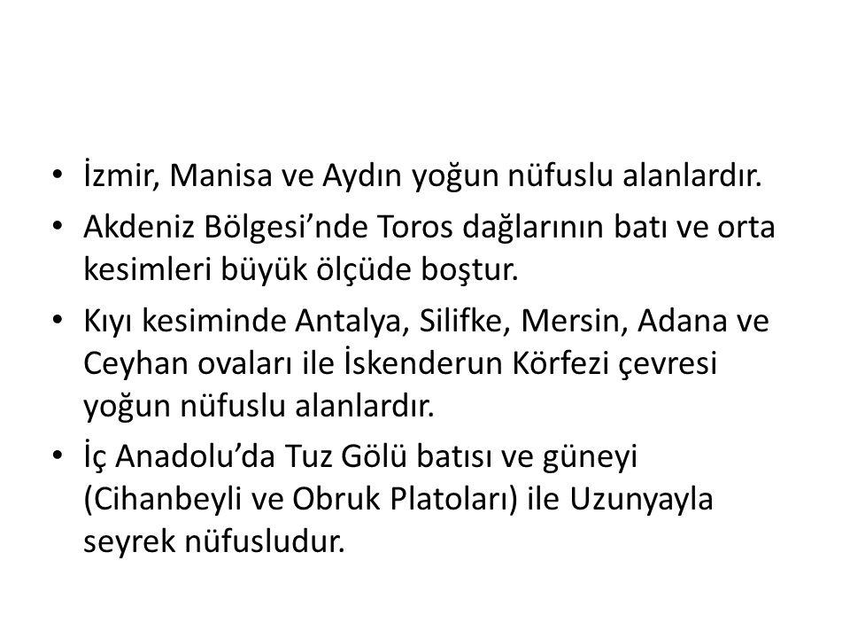 • İzmir, Manisa ve Aydın yoğun nüfuslu alanlardır. • Akdeniz Bölgesi'nde Toros dağlarının batı ve orta kesimleri büyük ölçüde boştur. • Kıyı kesiminde