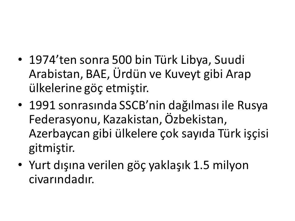 • 1974'ten sonra 500 bin Türk Libya, Suudi Arabistan, BAE, Ürdün ve Kuveyt gibi Arap ülkelerine göç etmiştir. • 1991 sonrasında SSCB'nin dağılması ile