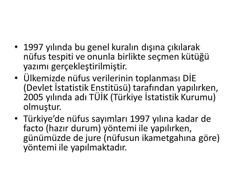 • 1997 yılında bu genel kuralın dışına çıkılarak nüfus tespiti ve onunla birlikte seçmen kütüğü yazımı gerçekleştirilmiştir. • Ülkemizde nüfus veriler