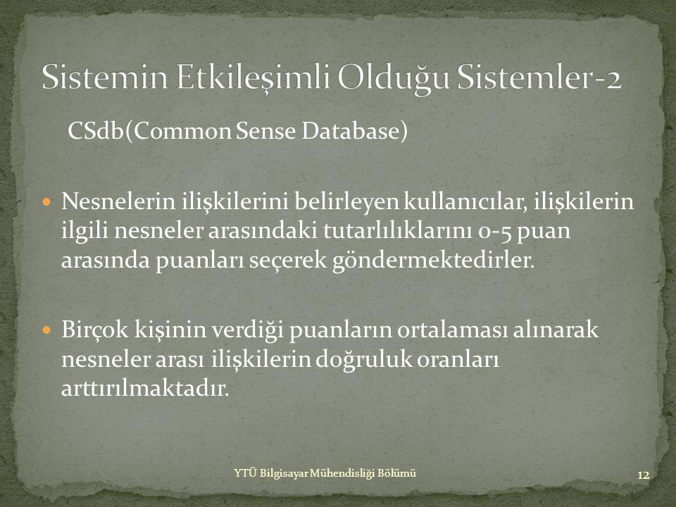 CSdb(Common Sense Database)  İlk Türkçe hayat bilgisi veritabanının henüz istenilen olgunluğa erişmemiş olması buradan alacağımız sonuçların tutarlılık oranını düşürebilmektedir, bu dezavantaj çalışma sürecinde göz önünde tutulmuştur.