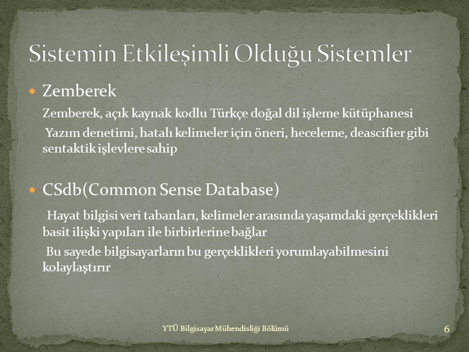 Zemberek  Cümle üretimini sağlayabilmek için hayat bilgisi veritabanına, cümlenin kelime ve kelime öbekleri gönderilmektedir.