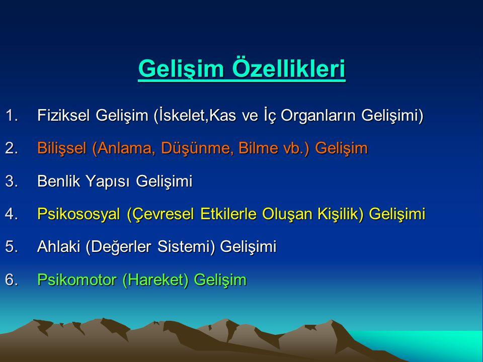 Gelişim Özellikleri 1.Fiziksel Gelişim (İskelet,Kas ve İç Organların Gelişimi) 2.Bilişsel (Anlama, Düşünme, Bilme vb.) Gelişim 3.Benlik Yapısı Gelişim