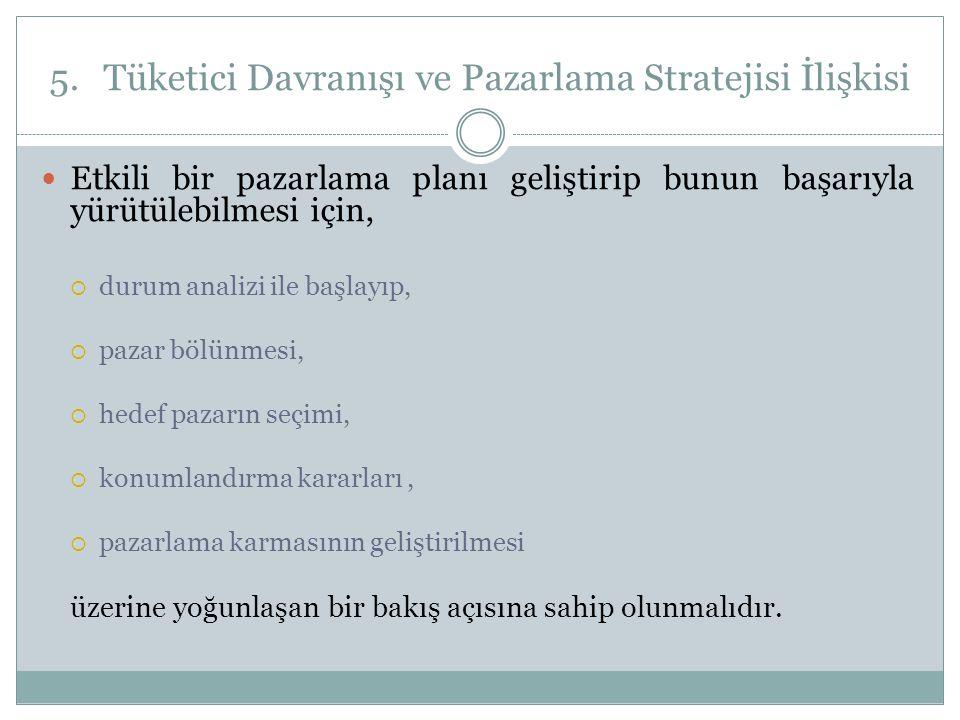 5.Tüketici Davranışı ve Pazarlama Stratejisi İlişkisi  Etkili bir pazarlama planı geliştirip bunun başarıyla yürütülebilmesi için,  durum analizi il