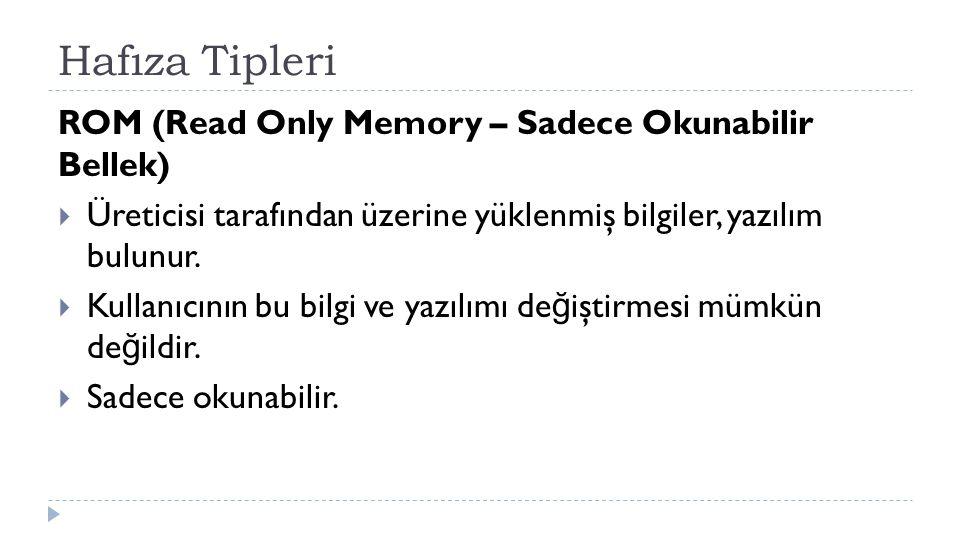 Hafıza Tipleri ROM (Read Only Memory – Sadece Okunabilir Bellek)  Üreticisi tarafından üzerine yüklenmiş bilgiler, yazılım bulunur.  Kullanıcının bu