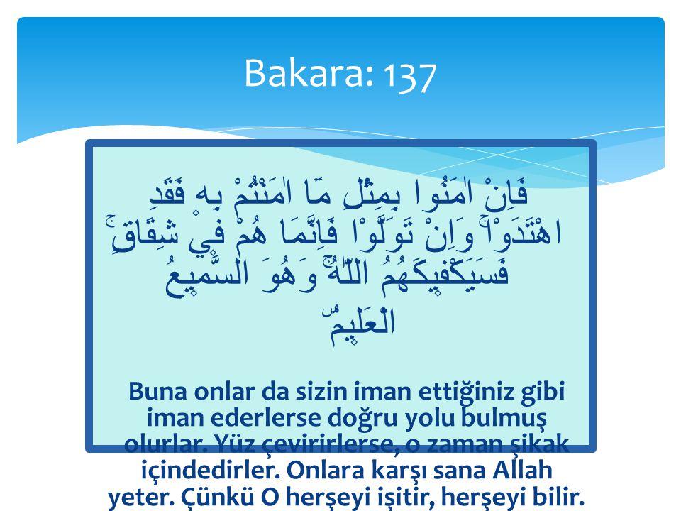  «Sizin iman ettiğiniz gibi»  Hidayet = İslâm  Peygamber, Rabbinden kendisine indirilene iman etti; mü'minler de iman ettiler.
