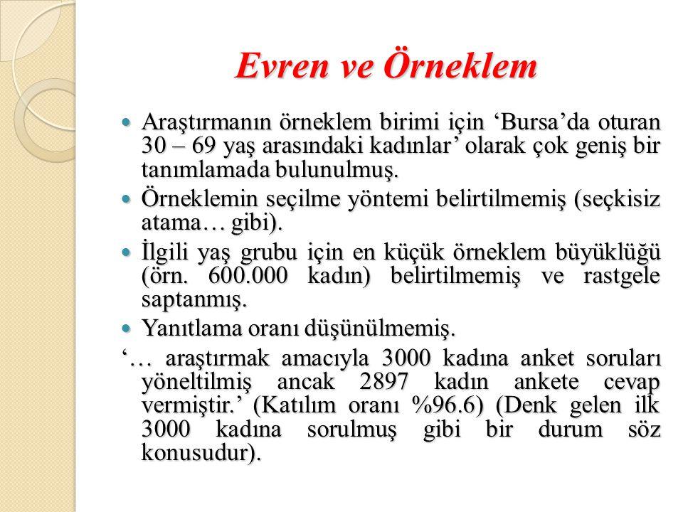 Evren ve Örneklem  Araştırmanın örneklem birimi için 'Bursa'da oturan 30 – 69 yaş arasındaki kadınlar' olarak çok geniş bir tanımlamada bulunulmuş.