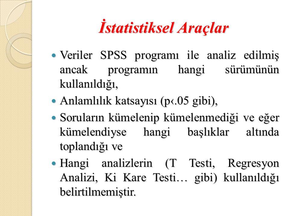 İstatistiksel Araçlar  Veriler SPSS programı ile analiz edilmiş ancak programın hangi sürümünün kullanıldığı,  Anlamlılık katsayısı (p‹.05 gibi),  Soruların kümelenip kümelenmediği ve eğer kümelendiyse hangi başlıklar altında toplandığı ve  Hangi analizlerin (T Testi, Regresyon Analizi, Ki Kare Testi… gibi) kullanıldığı belirtilmemiştir.