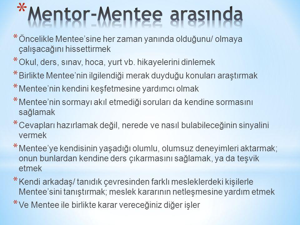 * Öncelikle Mentee'sine her zaman yanında olduğunu/ olmaya çalışacağını hissettirmek * Okul, ders, sınav, hoca, yurt vb. hikayelerini dinlemek * Birli