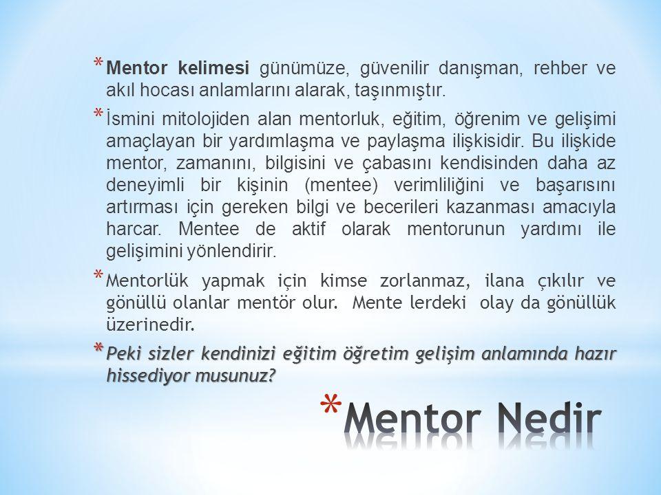 * Mentor kelimesi günümüze, güvenilir danışman, rehber ve akıl hocası anlamlarını alarak, taşınmıştır. * İsmini mitolojiden alan mentorluk, eğitim, öğ