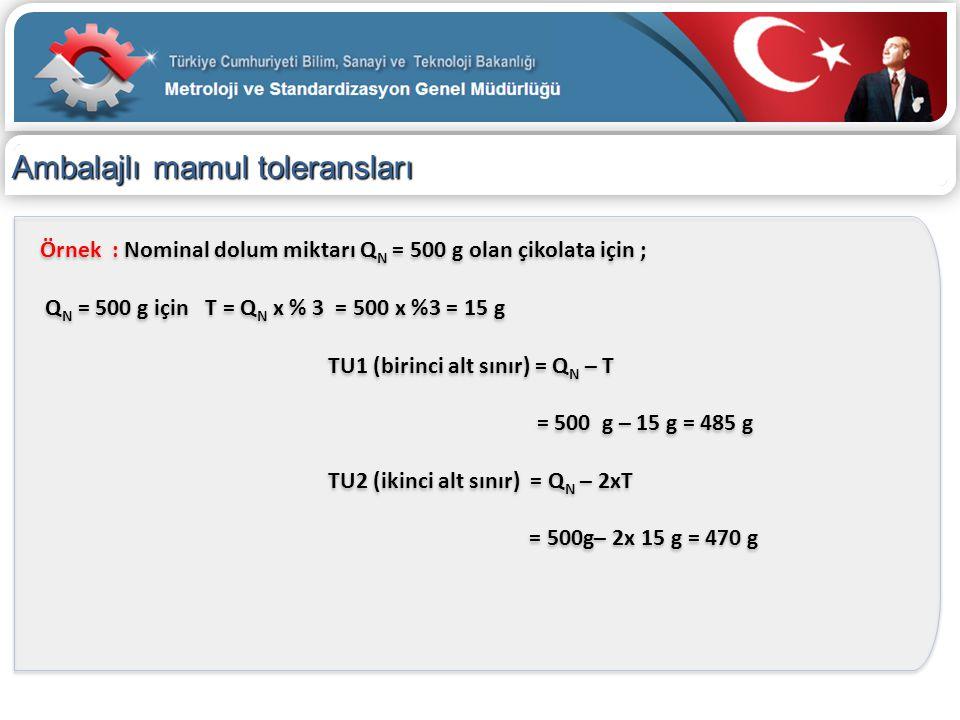 Ambalajlı mamul toleransları Örnek : Nominal dolum miktarı Q N = 500 g olan çikolata için ; Q N = 500 g için T = Q N x % 3 = 500 x %3 = 15 g TU1 (biri