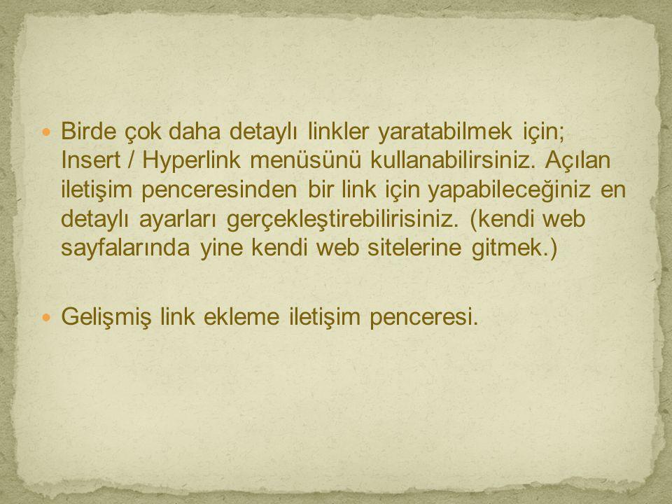  Birde çok daha detaylı linkler yaratabilmek için; Insert / Hyperlink menüsünü kullanabilirsiniz. Açılan iletişim penceresinden bir link için yapabil
