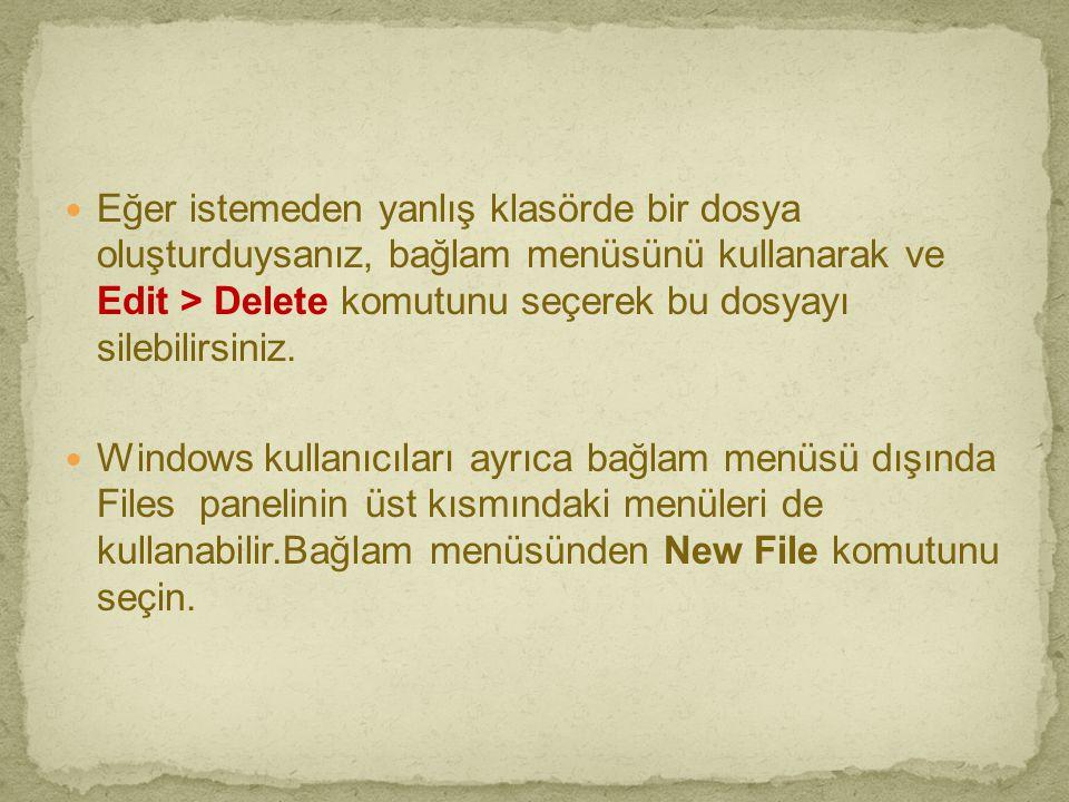  Eğer istemeden yanlış klasörde bir dosya oluşturduysanız, bağlam menüsünü kullanarak ve Edit > Delete komutunu seçerek bu dosyayı silebilirsiniz. 