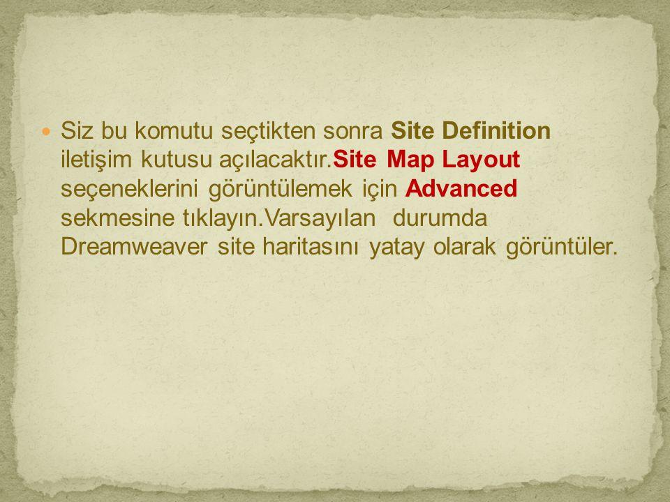  Siz bu komutu seçtikten sonra Site Definition iletişim kutusu açılacaktır.Site Map Layout seçeneklerini görüntülemek için Advanced sekmesine tıklayı