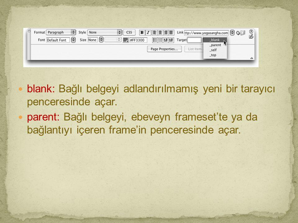  blank: Bağlı belgeyi adlandırılmamış yeni bir tarayıcı penceresinde açar.  parent: Bağlı belgeyi, ebeveyn frameset'te ya da bağlantıyı içeren frame