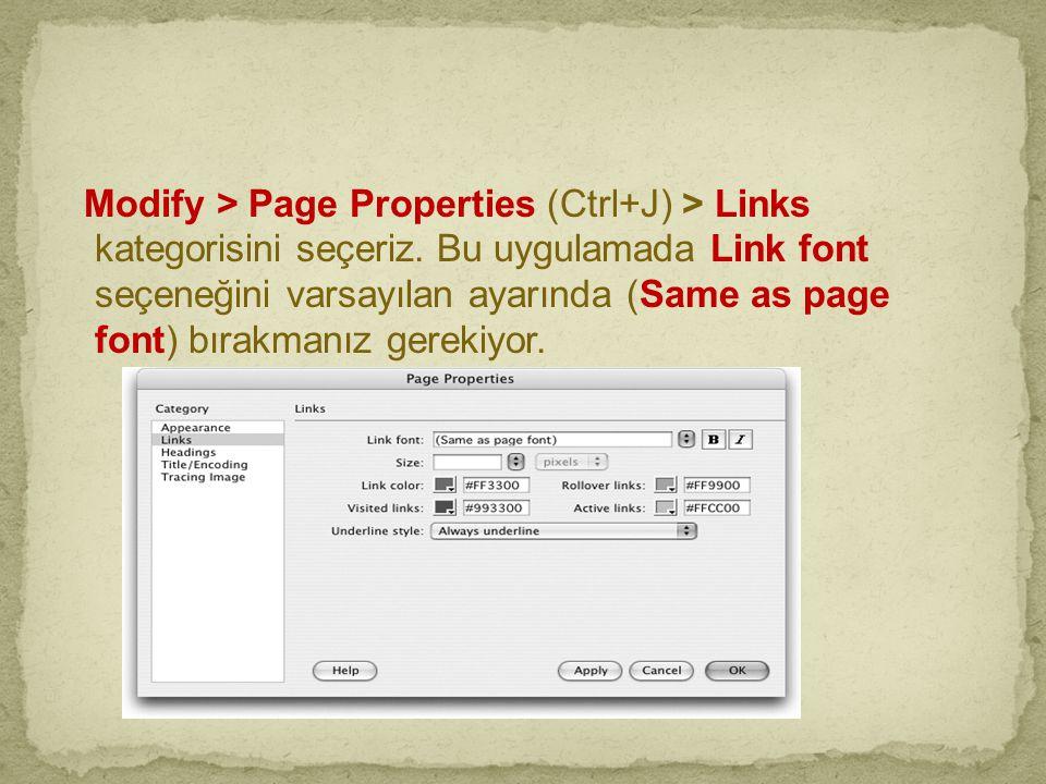 Modify > Page Properties (Ctrl+J) > Links kategorisini seçeriz. Bu uygulamada Link font seçeneğini varsayılan ayarında (Same as page font) bırakmanız