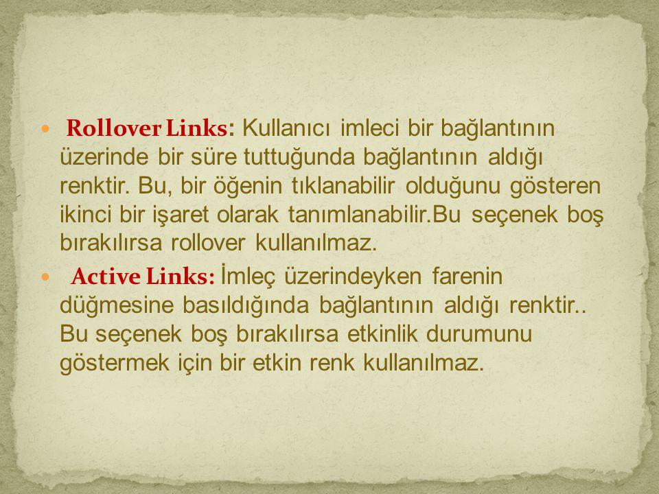  Rollover Links : Kullanıcı imleci bir bağlantının üzerinde bir süre tuttuğunda bağlantının aldığı renktir. Bu, bir öğenin tıklanabilir olduğunu göst
