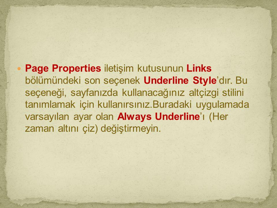  Page Properties iletişim kutusunun Links bölümündeki son seçenek Underline Style'dır. Bu seçeneği, sayfanızda kullanacağınız altçizgi stilini tanıml