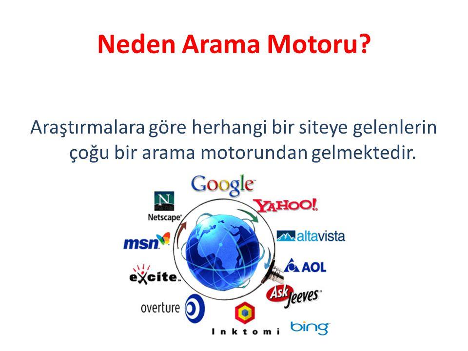 Neden Arama Motoru? Araştırmalara göre herhangi bir siteye gelenlerin çoğu bir arama motorundan gelmektedir.