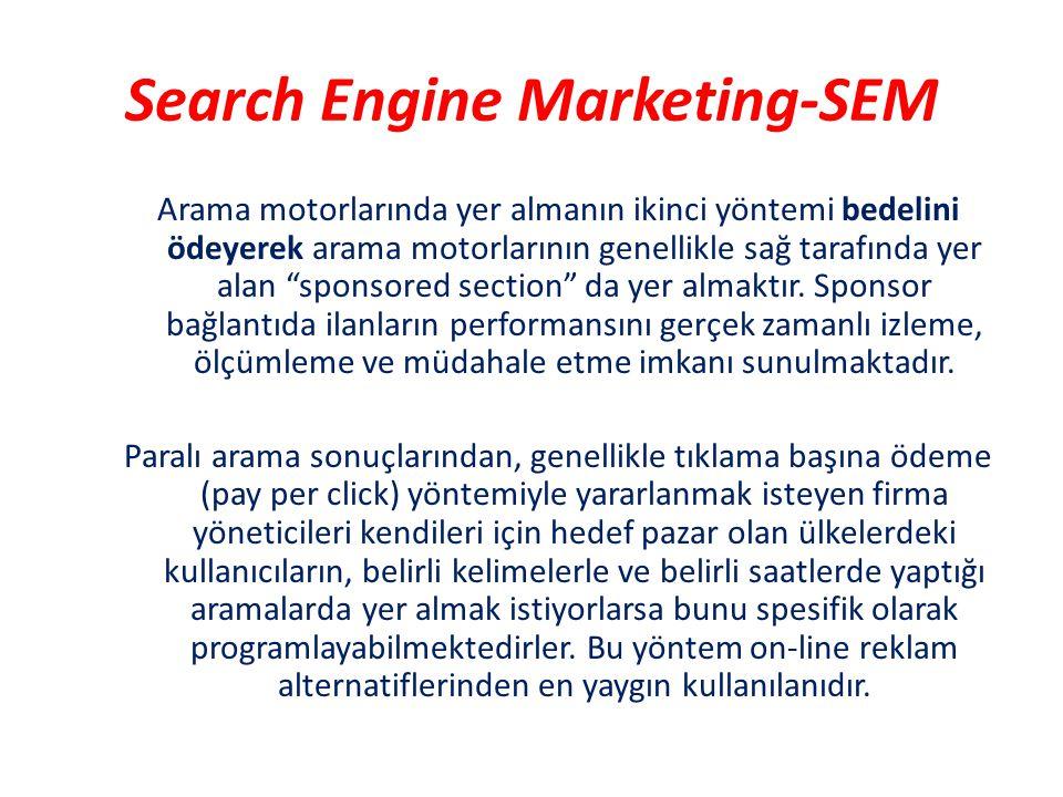 """Search Engine Marketing-SEM Arama motorlarında yer almanın ikinci yöntemi bedelini ödeyerek arama motorlarının genellikle sağ tarafında yer alan """"spon"""