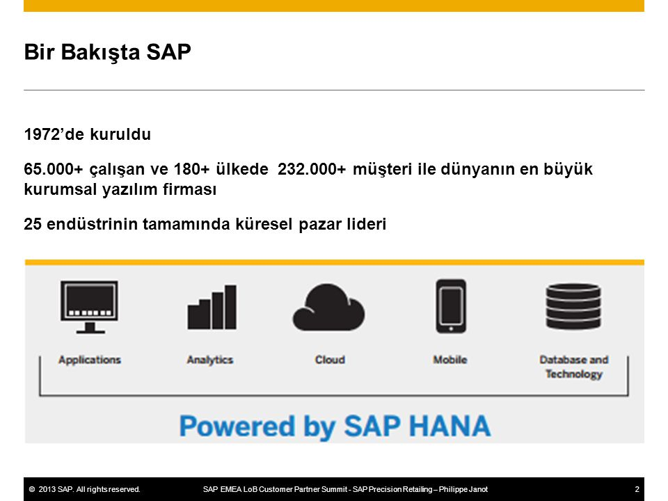 ©2013 SAP. All rights reserved. SAP EMEA LoB Customer Partner Summit - SAP Precision Retailing – Philippe Janot2 Bir Bakışta SAP 1972'de kuruldu 65.00