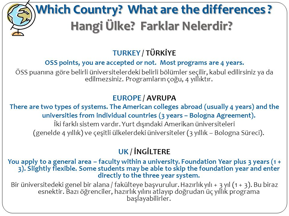 Which Country? What are the differences ? Hangi Ülke? Farklar Nelerdir? TURKEY / TÜRKİYE OSS points, you are accepted or not. Most programs are 4 year