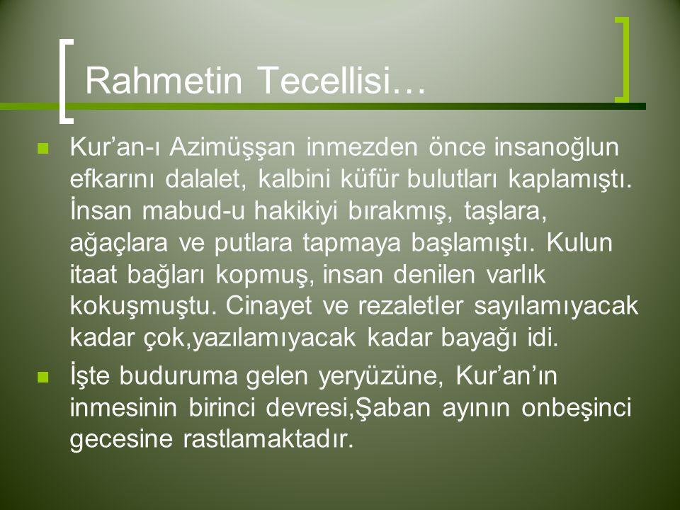 Rahmetin Tecellisi…  Kur'an-ı Azimüşşan inmezden önce insanoğlun efkarını dalalet, kalbini küfür bulutları kaplamıştı. İnsan mabud-u hakikiyi bırakmı