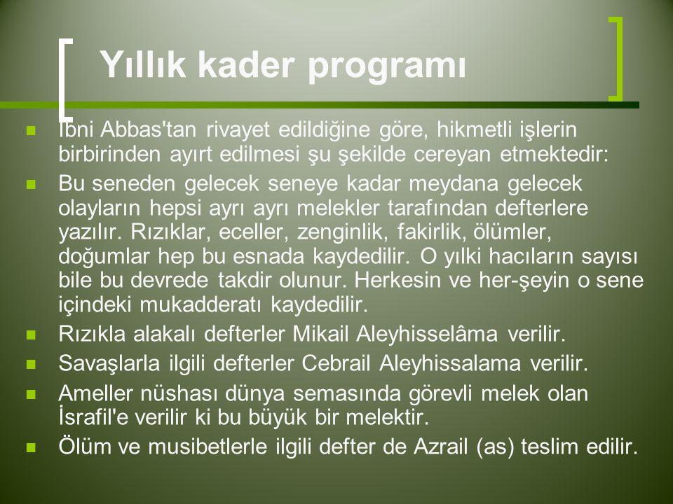 Yıllık kader programı  İbni Abbas'tan rivayet edildiğine göre, hikmetli işlerin birbirinden ayırt edilmesi şu şekilde cereyan etmektedir:  Bu senede