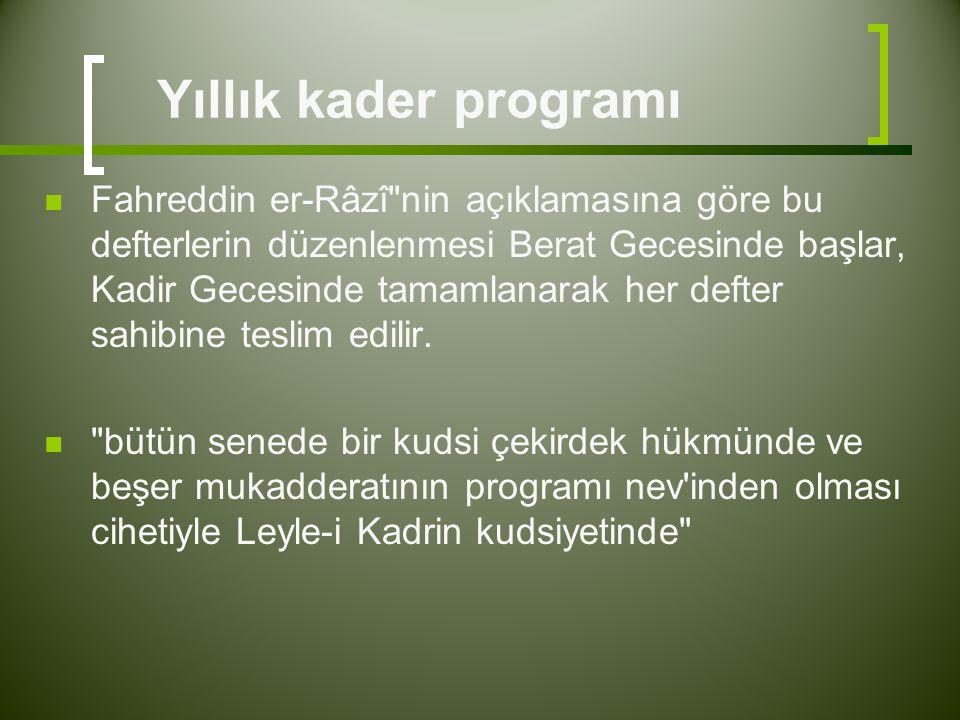Yıllık kader programı  Fahreddin er-Râzî