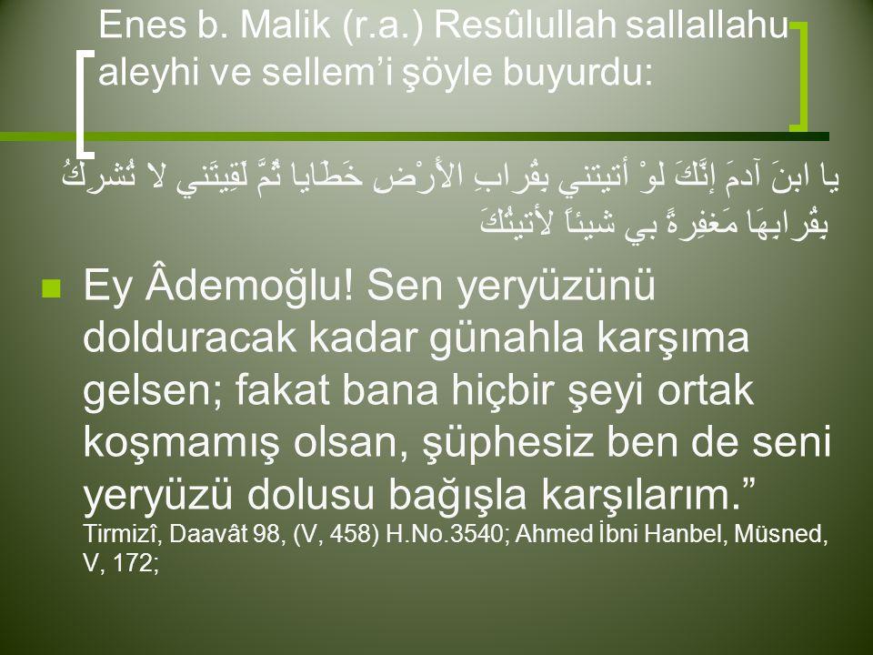 Enes b. Malik (r.a.) Resûlullah sallallahu aleyhi ve sellem'i şöyle buyurdu: يا ابنَ آدمَ إنَّكَ لوْ أتيتني بِقُرابِ الأَرْضِ خَطَايا ثُمَّ لَقِيتَني