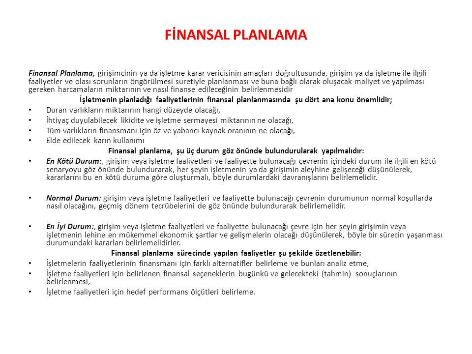 FİNANSAL PLANLAMA Finansal Planlama, girişimcinin ya da işletme karar vericisinin amaçları doğrultusunda, girişim ya da işletme ile ilgili faaliyetler