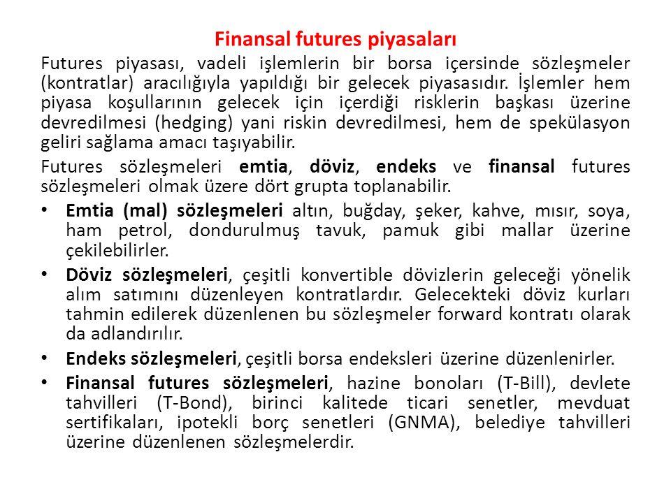 Finansal futures piyasaları Futures piyasası, vadeli işlemlerin bir borsa içersinde sözleşmeler (kontratlar) aracılığıyla yapıldığı bir gelecek piyasa