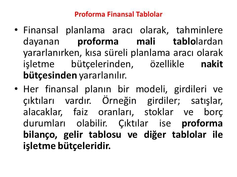 Proforma Finansal Tablolar • Finansal planlama aracı olarak, tahminlere dayanan proforma mali tablolardan yararlanırken, kısa süreli planlama aracı ol