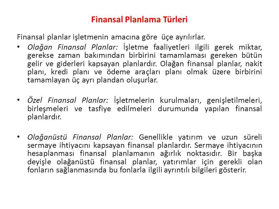Finansal Planlama Türleri Finansal planlar işletmenin amacına göre üçe ayrılırlar. • Olağan Finansal Planlar: İşletme faaliyetleri ilgili gerek miktar